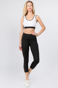 Active Mesh Side Workout Capri Tights with Pocket - SportyLeggings.com