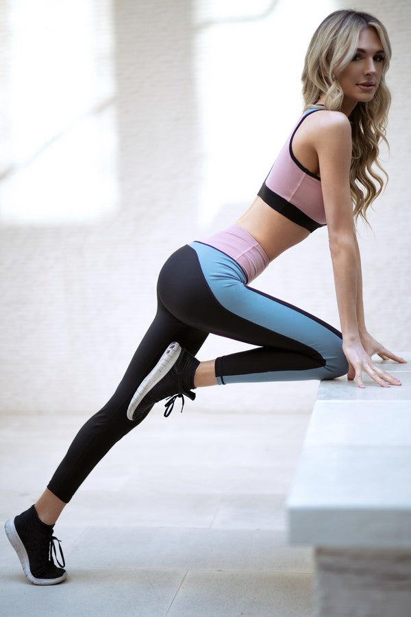 Color Block Detail Workout Legging - SportyLeggings.com