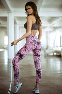 Tie Dye Workout Leggings - Pink - SportyLeggings.com