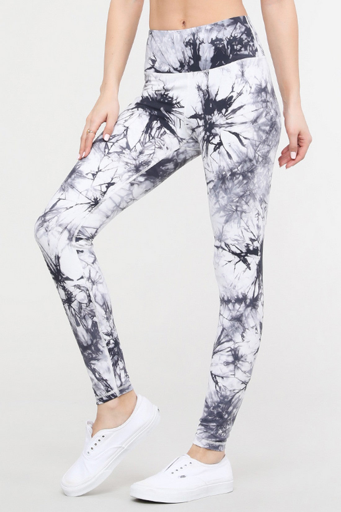 Tie Dye Workout Leggings - White - SportyLeggings.com