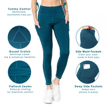 Load image into Gallery viewer, 5 Pocket high waist full length yoga pants - Green - SportyLeggings.com