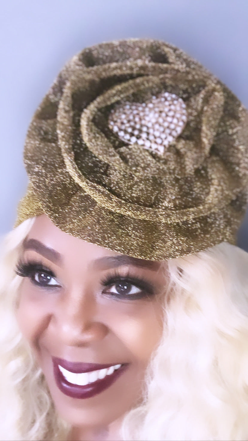 GLAM - Royal Gold Shimmer Turban