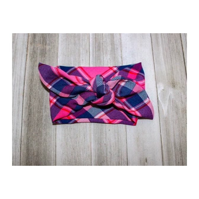 Pretty in Pink, Purple & Plaid Tie-On Scarf