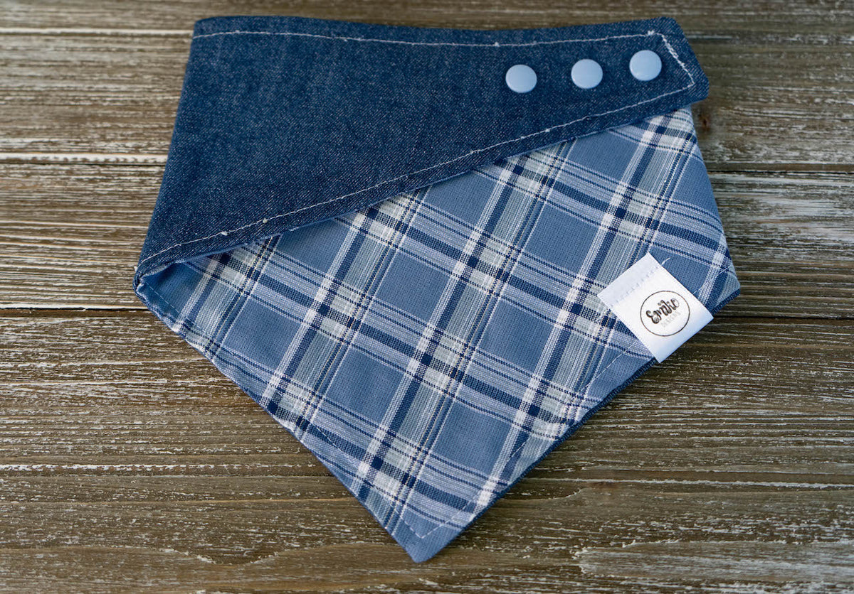 Denim & Plaid Reversible Bandana