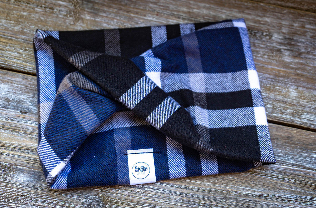 Wintery Blue Plaid Infinity Scarf
