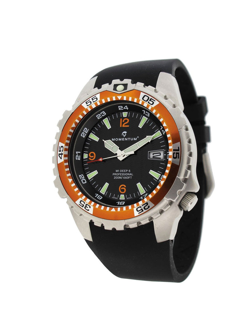 Momentum Deep 6 in Orange/Black with Black 'FIT' Rubber Strap | Scuba Leeds UK