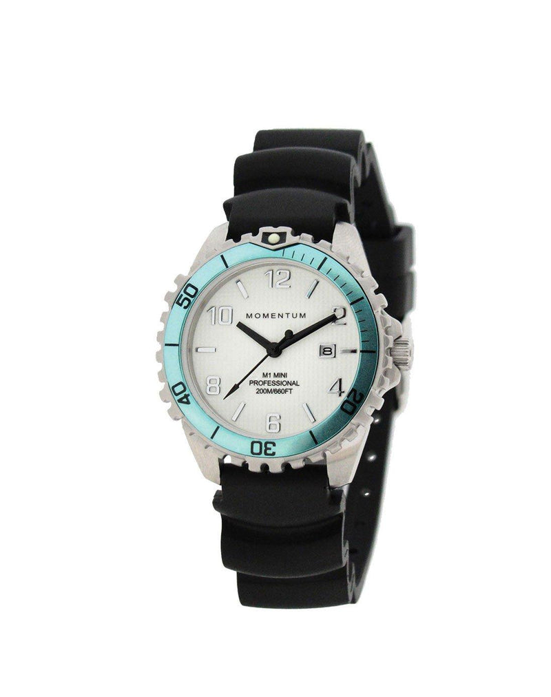 Momentum Mini Rubber Aqua with Black Rubber Strap | Scuba Leeds UK