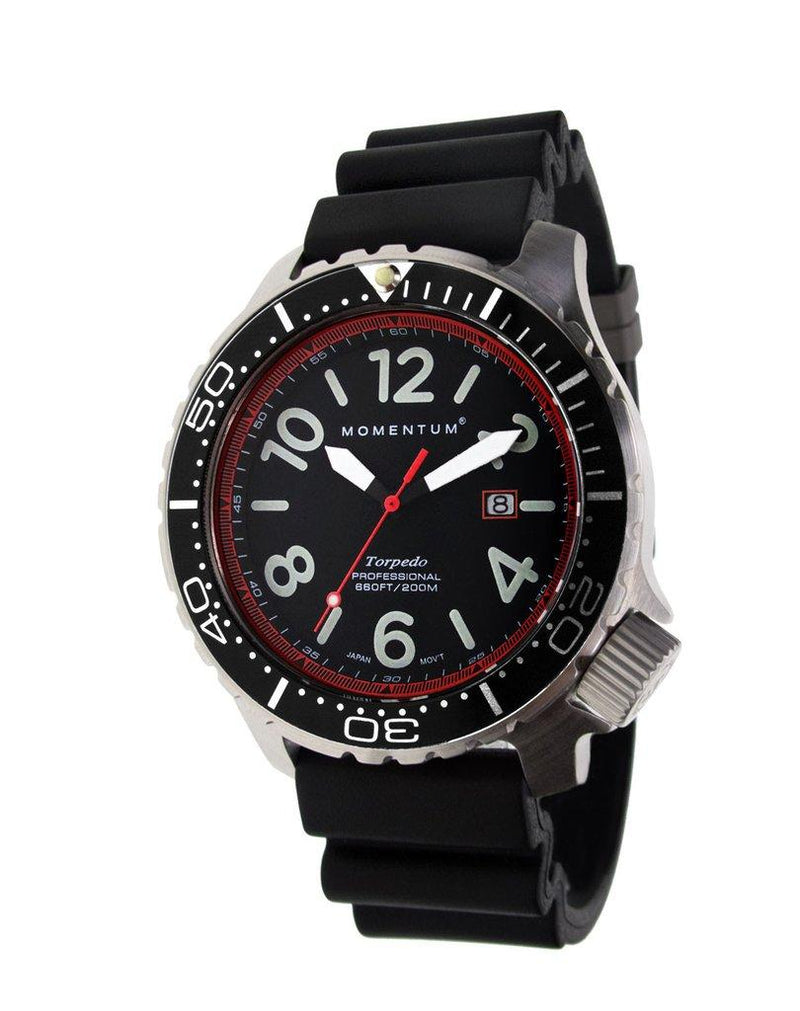 Momentum Torpedo Blast Red 44 with Sapphire Glass & Rubber Strap | Scuba Leeds UK