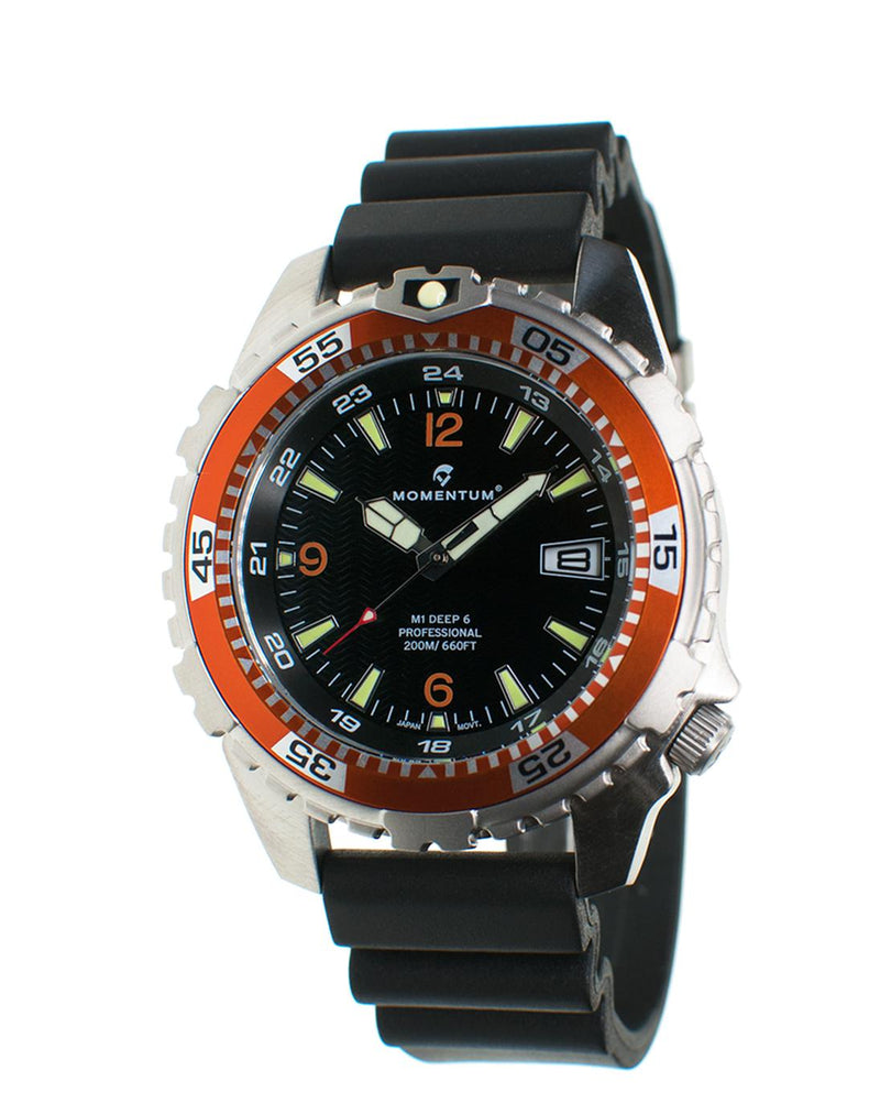 Momentum Deep 6 in Orange/Black with Black Hyper Rubber Strap | Scuba Leeds UK