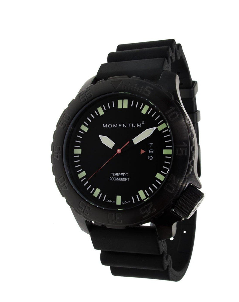 Momentum Torpedo Black-Ion with Sapphire Glass & Rubber Strap | Scuba Leeds UK