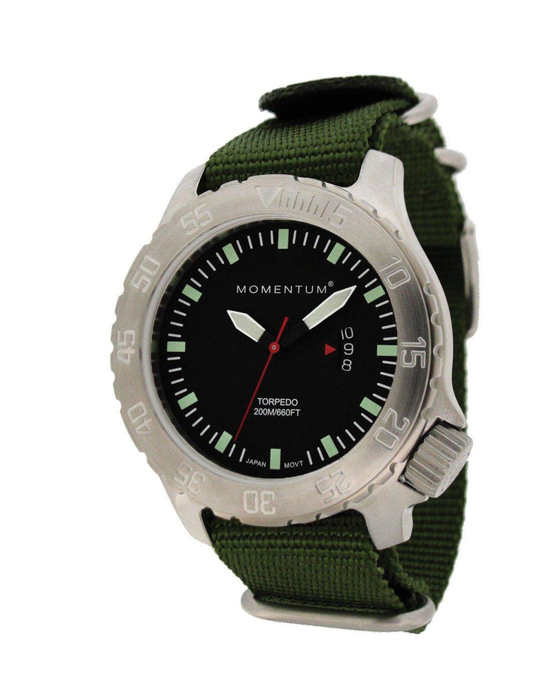 Momentum Torpedo Nylon Watch with Black Face & Green Strap | Scuba Leeds UK