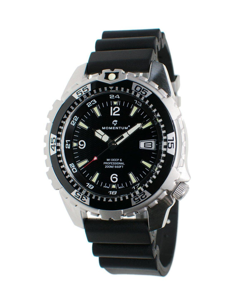 Momentum Deep 6 in Black Face with Black 'Hyper' Rubber Strap | Scuba Leeds UK