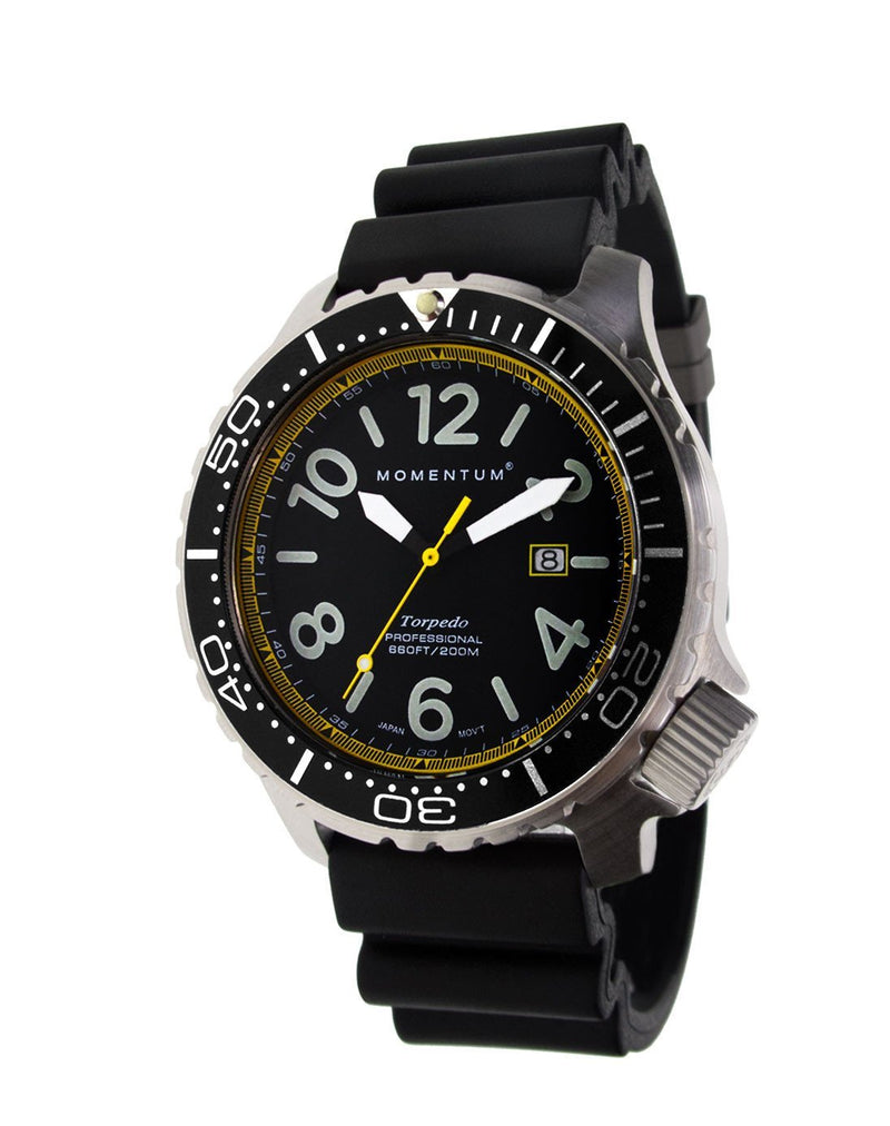 Momentum Torpedo Blast 44 in Black/Yellow with Hyper Rubber Strap | Scuba Leeds UK