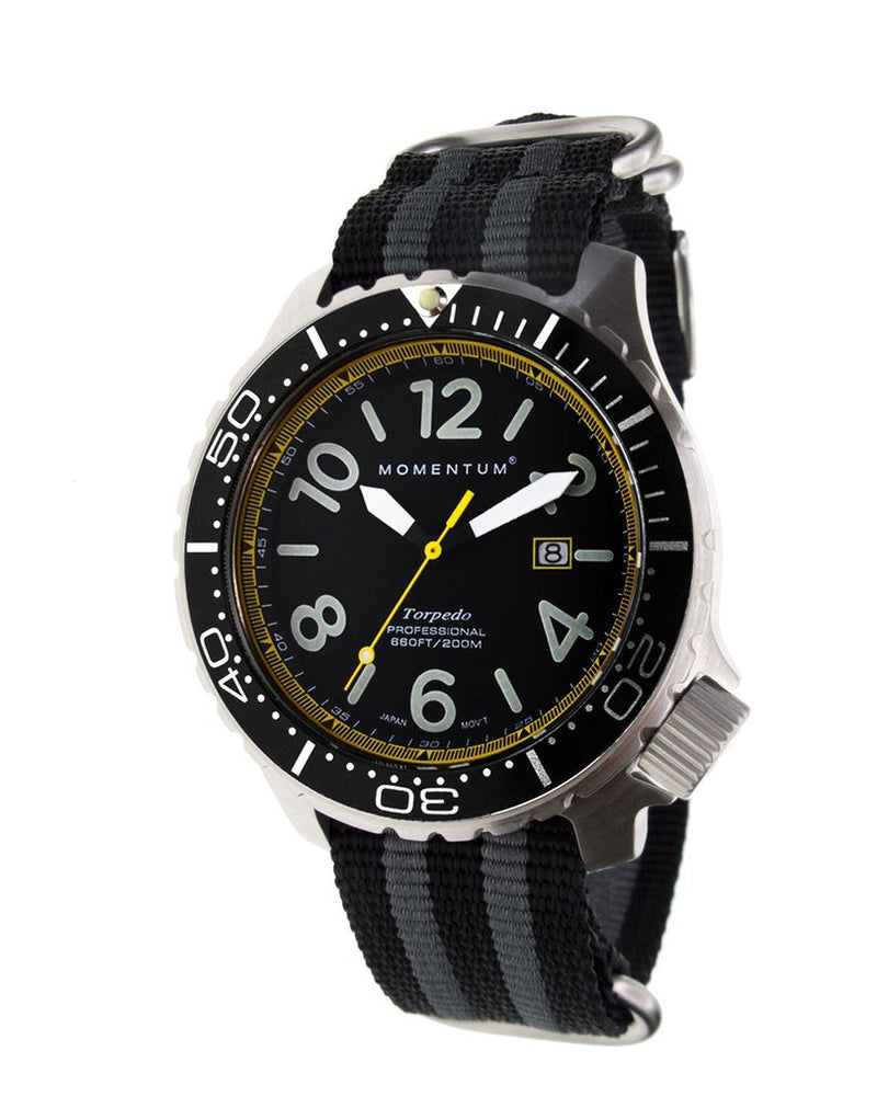 Momentum Torpedo Blast with Yellow Face & Striped Nato Nylon Strap | Scuba Leeds UK