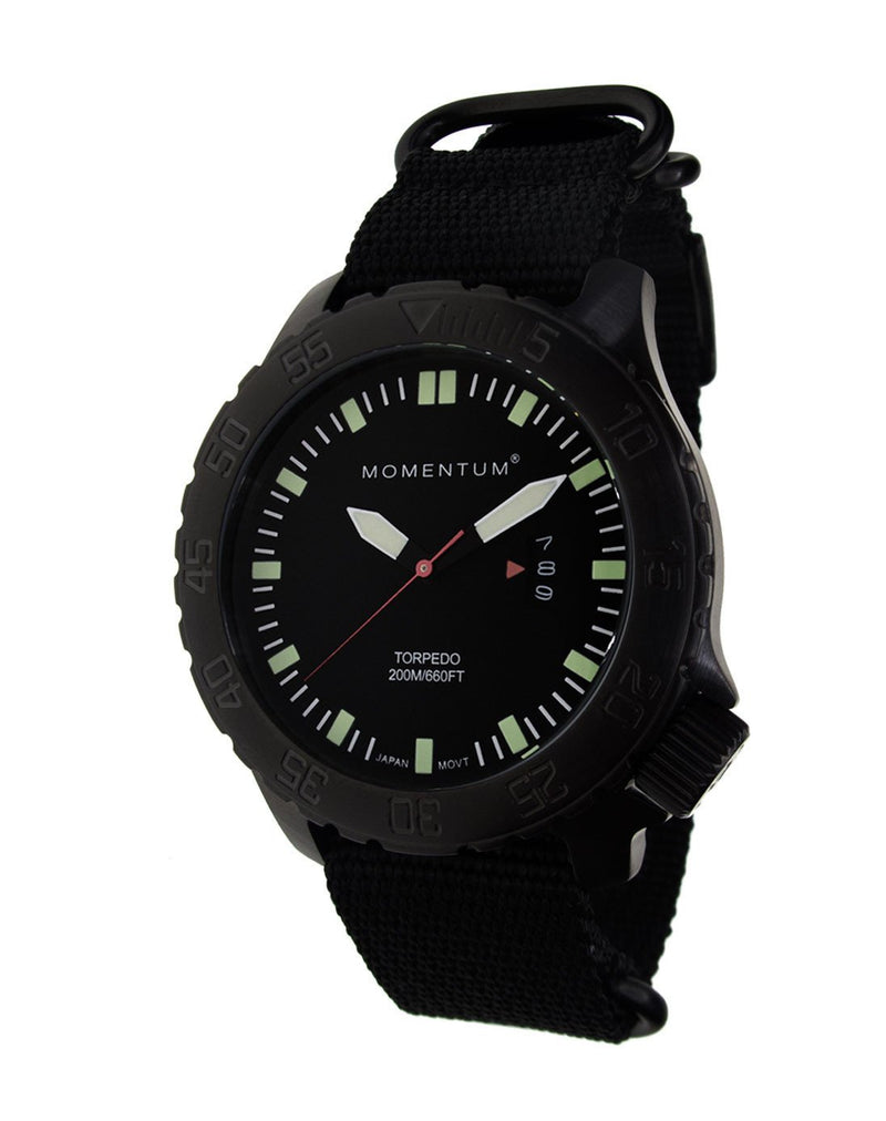 Momentum Torpedo Black-Ion with Black Nato Webbing Strap | Scuba Leeds UK