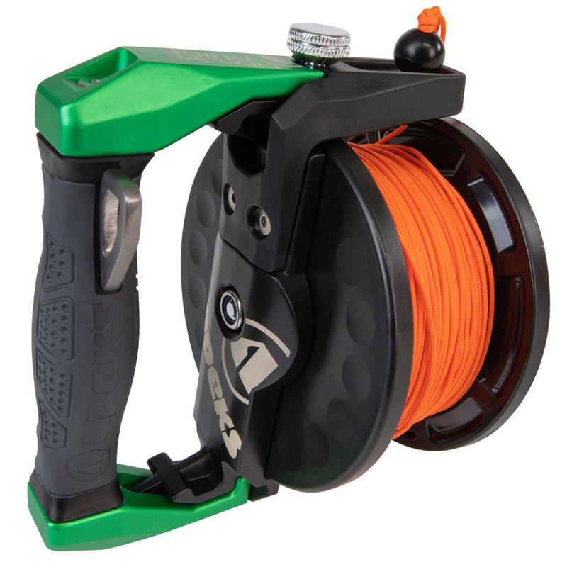 Apeks Lifeline Guide Reel in Green handle side | Scuba Leeds UK