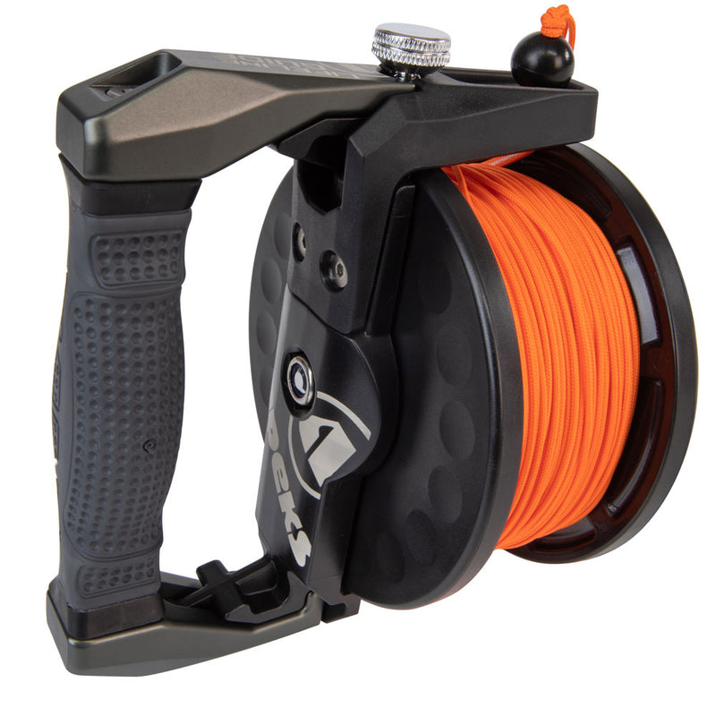 Apeks Lifeline Guide Reel in Grey handle side | Scuba Leeds UK