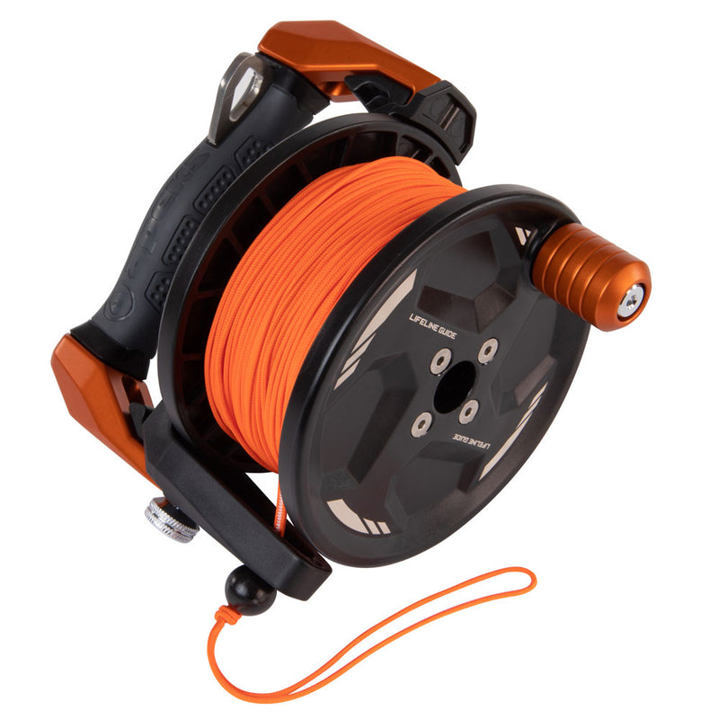 Apeks Lifeline Guide Reel in Orange line side | Scuba Leeds UK