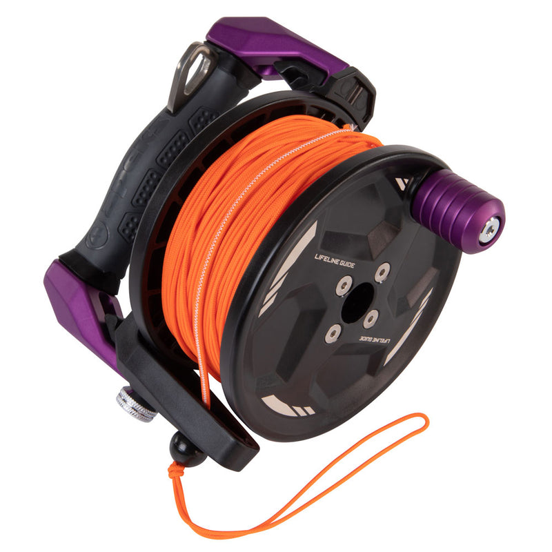 Apeks Lifeline Guide Reel in Purple line side | Scuba Leeds UK