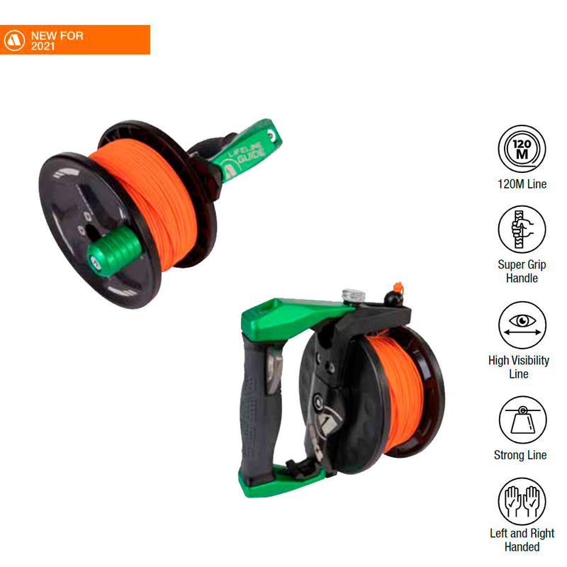 Apeks Lifeline Guide Reel in Green with specifications | Scuba Leeds UK