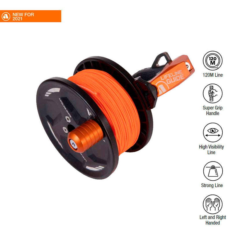 Apeks Lifeline Guide Reel in Orange with specifications | Scuba Leeds UK