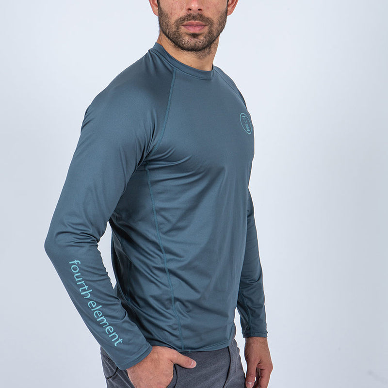 Fourth Element Hydro-T Long Sleeve Rashguard Men's in Baltic Blue (Front2) | Scuba Leeds UK
