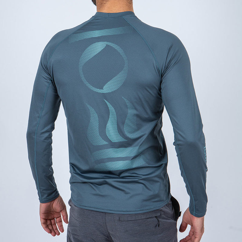 Fourth Element Hydro-T Long Sleeve Rashguard Men's in Baltic Blue (Rear2) | Scuba Leeds UK