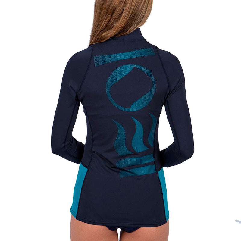 Fourth Element Hydroskin Long Sleeve Rashguard Women's in Navy (Rear) | Scuba Leeds UK
