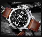 Load image into Gallery viewer, Men's Dual Display Leather Strap Watch