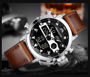 Men's Dual Display Leather Strap Watch