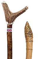Natural Wood & Staghorn Handle Hiking Staves & Walking Sticks