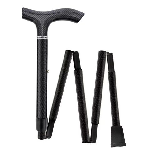 Black Triple Wound Carbon Fiber Mini Folding & Adjustable Fritz Handle Walking Cane