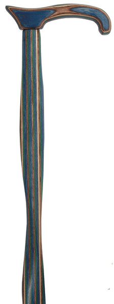 American Woodcrafter Extra Long Colortone Highlander Blue Derby Walking Cane With Laminated Birchwood Shaft