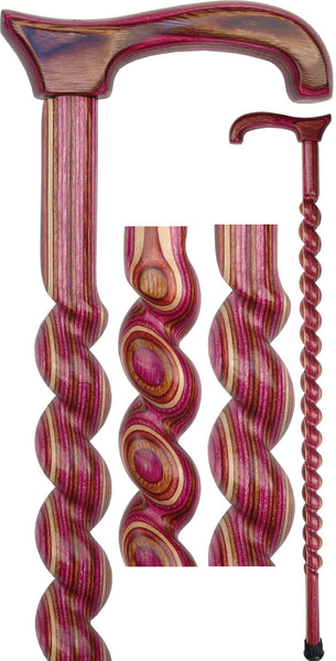 American Woodcrafter Lavender Colortone Spiral Rope Derby Handle Walking Cane With laminate Birchwood Shaft