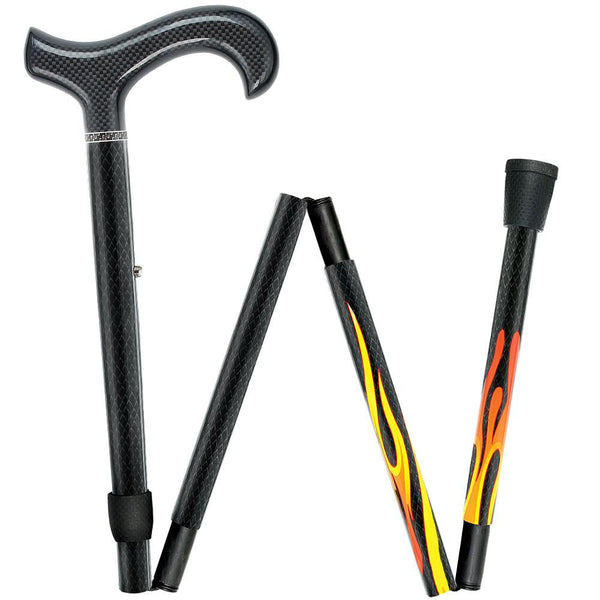 Carbon Canes House Flame Derby Walking Cane With Folding, Adjustable Carbon Fiber Shaft