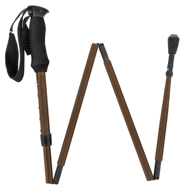 Carbon Canes Exotic Macassar Ebony Wood Wrapped Adjustable & Folding Carbon Fiber Hiking Staff