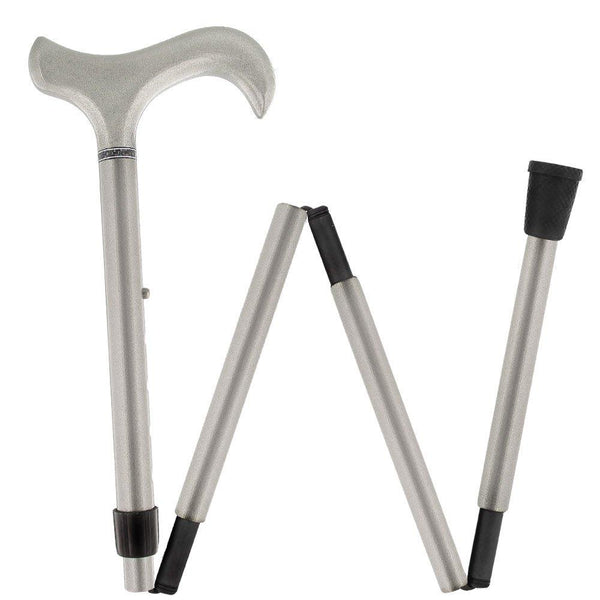 Carbon Canes Energetic Metallic Platinum Adjustable & Folding Derby Carbon Fiber Walking Cane