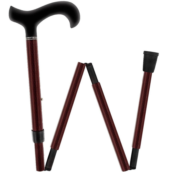 Carbon Canes Mahagony Red Triple Wound Derby Walking Cane With Adjustable Folding Carbon Fiber Shaft and Collar