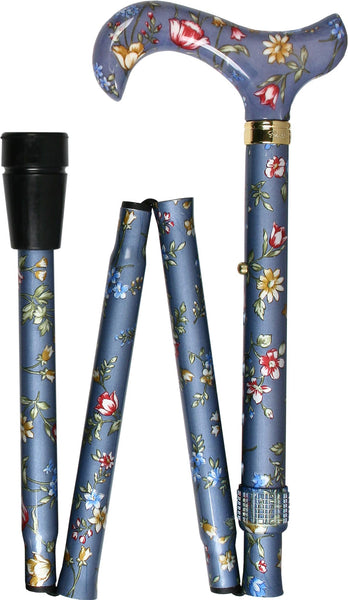 Classic Canes Blue Skies Folding Adjustable Derby Walking Cane With Aluminum Shaft and Brass Collar