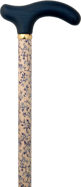 Classic Canes Blue Petite Derby Walking Cane w/ Painted Beechwood Shaft and Brass Collar