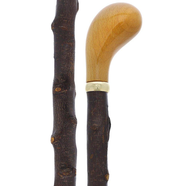 Classic Canes English Style Knob Walking Stick With Blackthorn Shaft and Brass Collar