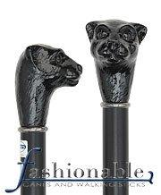 Comoys Black Cat Knob Handle Walking Stick With Black Beechwood Shaft and Silver Collar
