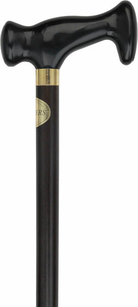 Comoys Black Ergonomical Handle Walking Cane With Walnut Stained Beechwood Shaft And Brass Collar