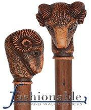Comoys Ram Head Knob Handle Walking Stick With Chestnut Wood Shaft