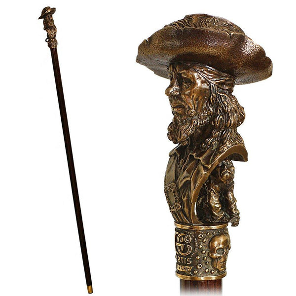 GC Artis Bronze Barbossa Captain Walking Cane - Pirates of Caribbean Look