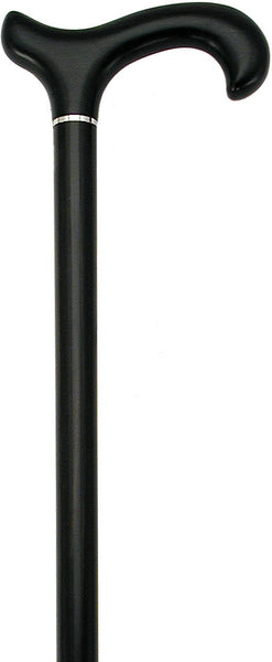HARVY Ebony Derby Walking Cane with Silver Collar