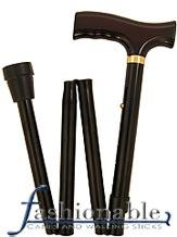 Harvy Classic Black, Fritz Walking Cane with Black Folding Adjustable Aluminum Shaft and Brass Collar