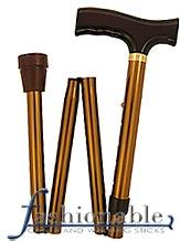 Harvy Classic Bronze, Fritz Walking Cane with Bronze Folding Adjustable Aluminum Shaft and Brass Collar