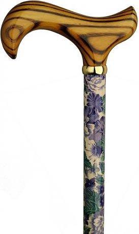 HARVY Lilacs and lily's Derby Walking Cane With Beechwood Shaft and Brass Collar