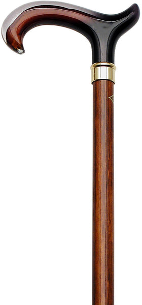 HARVY Amber & Cherry ClearForms Derby Walking Cane With Beechwood Shaft and Brass Collar
